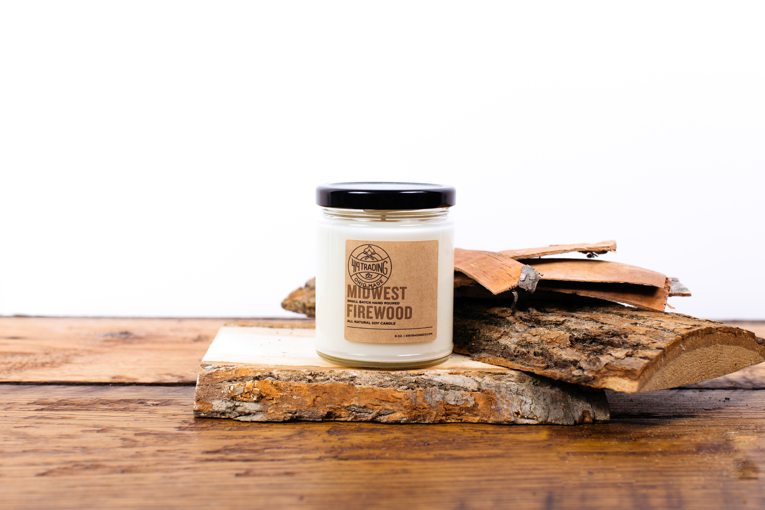 Midwest Firewood Candle, $15