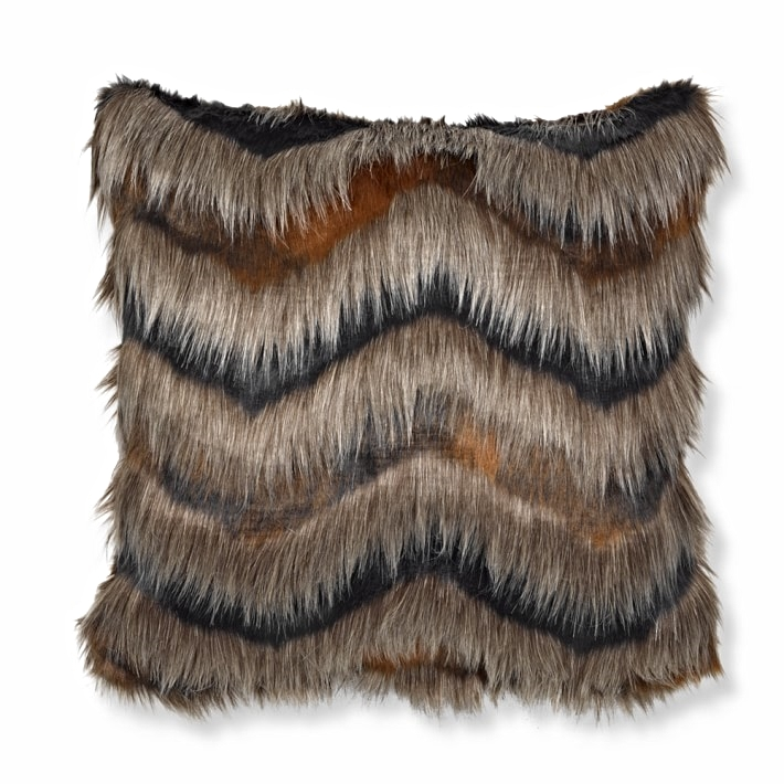 Faux Fur Pillow Cover, Chevron $79