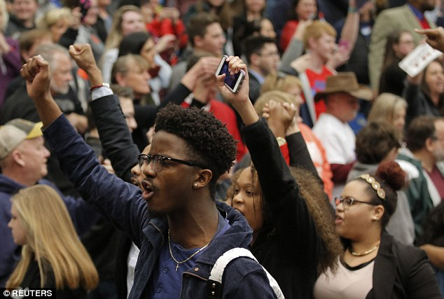 Black Lives Matter protesters at a February 29, 2016 Trump rally, shortly before being escorted out of the venue.