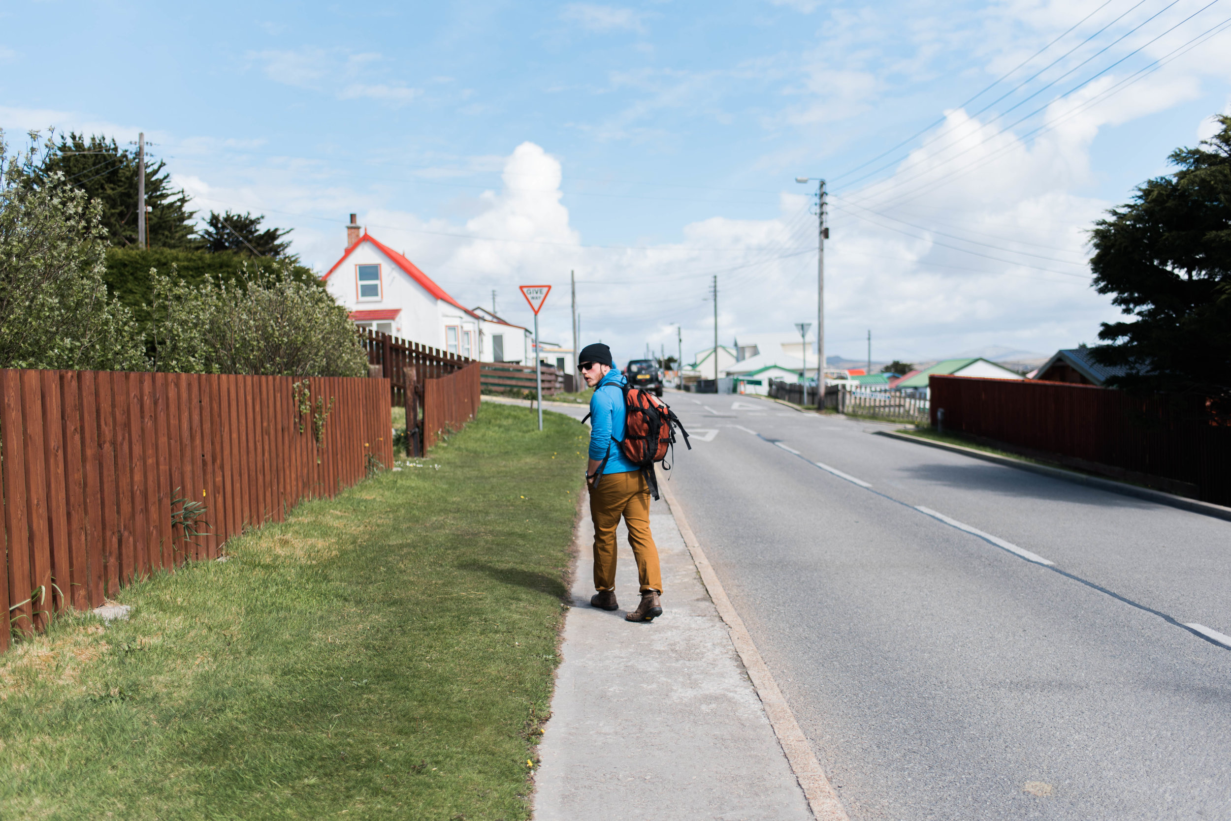 Lee on the streets of Stanley, Falkland Islands