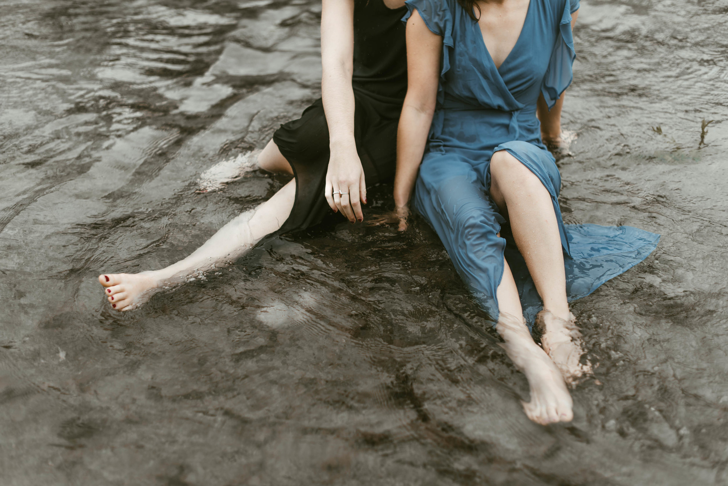 Austin Greenbelt moody blue selkie river photoshoot with Kaley Wheless and Lauren Tronick - Kendall Rock Photography