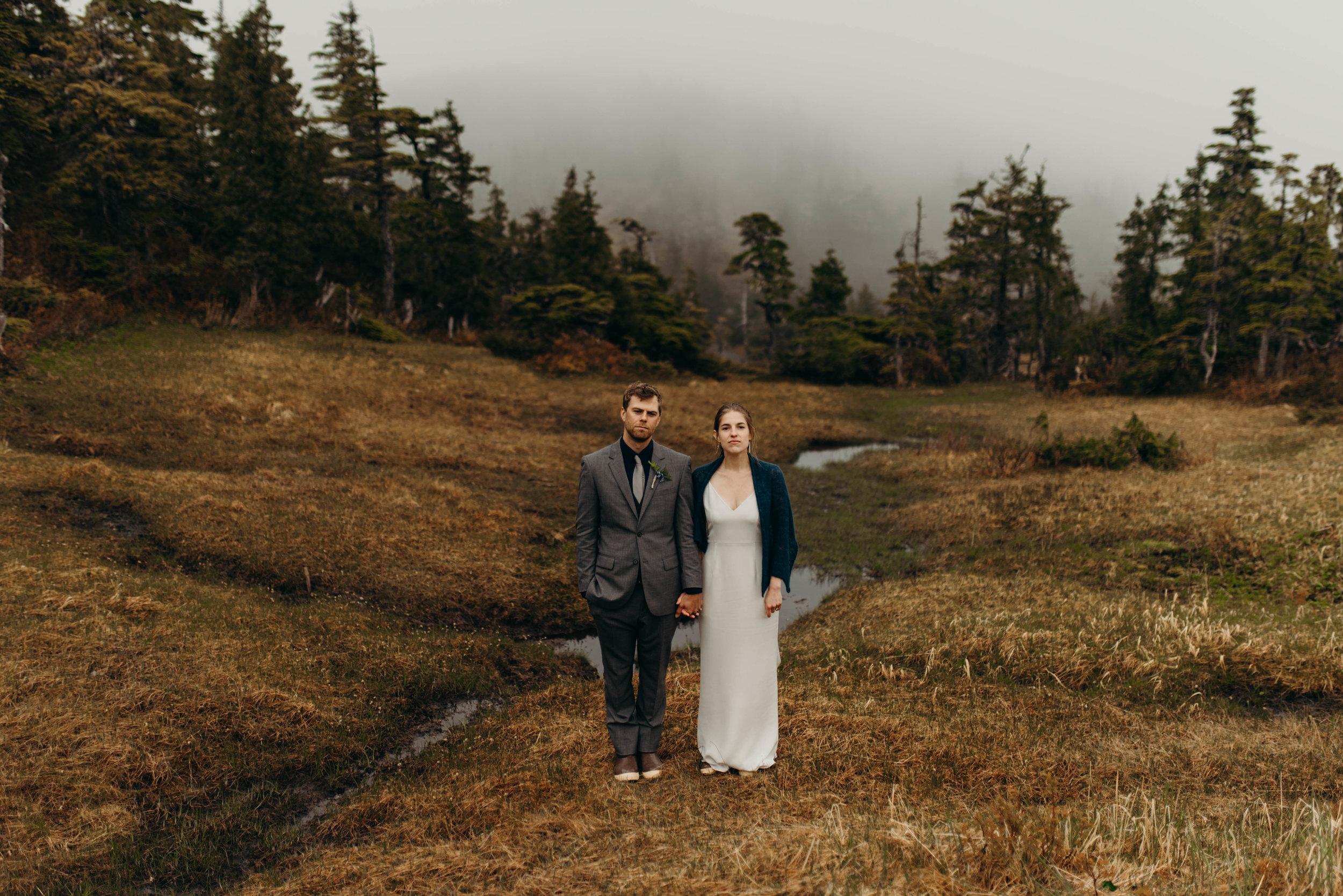 Bride & groom in muskeg, Sitka, Alaska diy mountain wedding