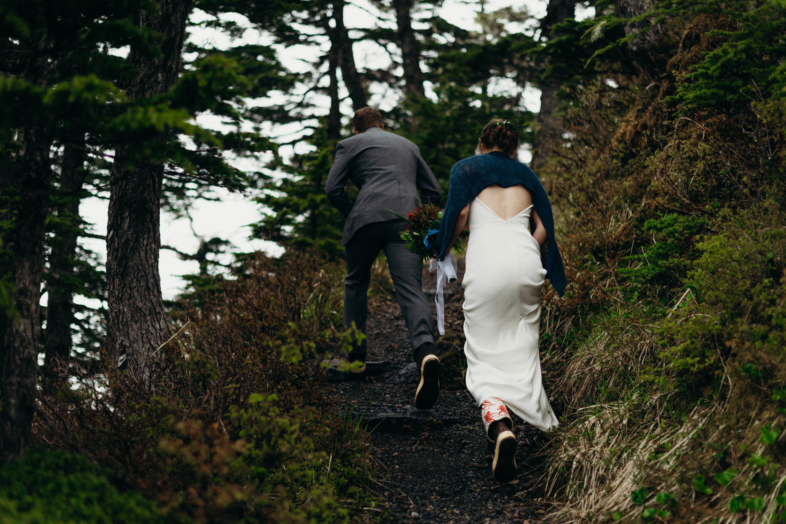 Xtra Tuff bridal hike for beautiful misty Sitka, Alaska mountain wedding