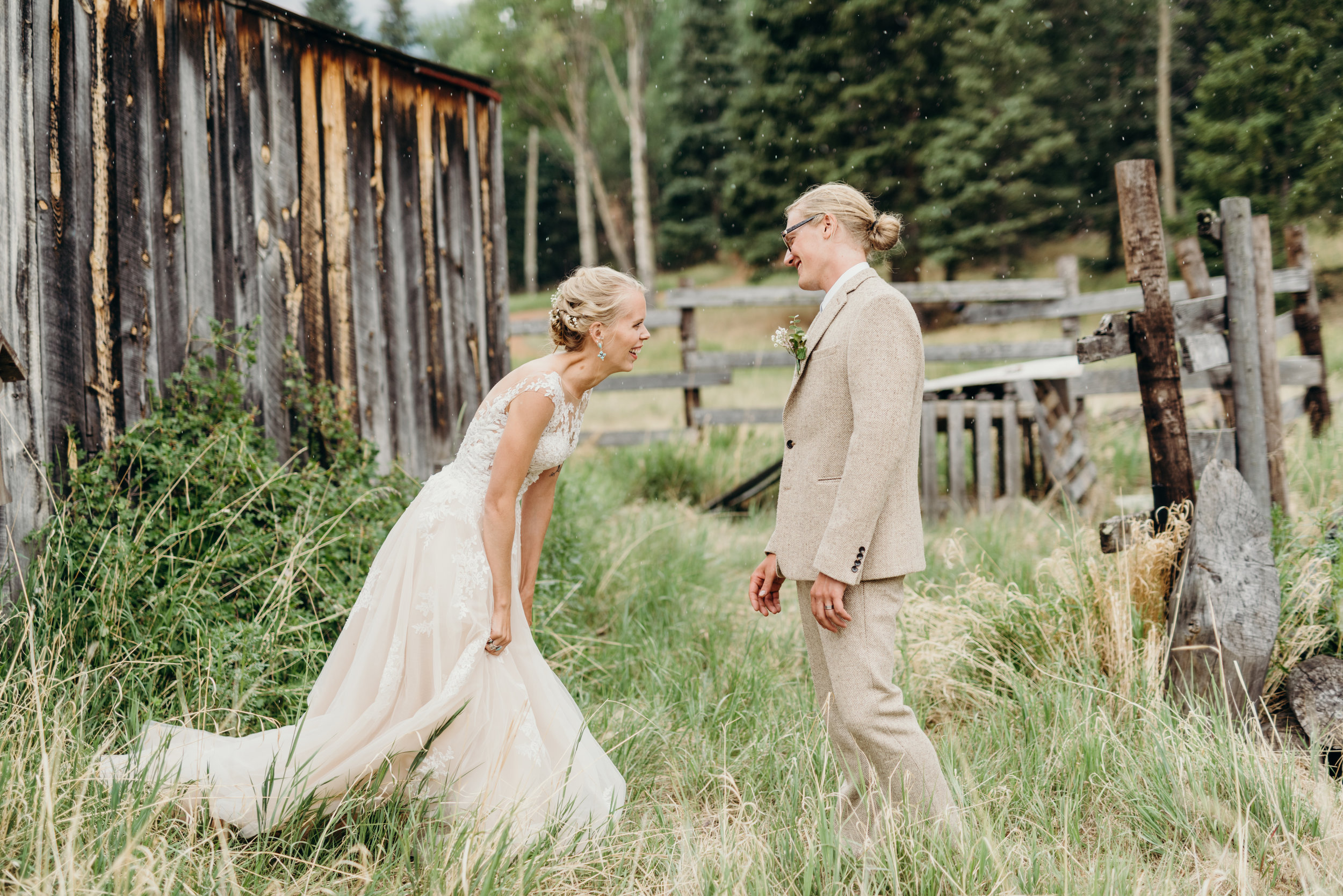 Ally & Jared's emotional first look / rustic Colorado mountain / diy / summer camp wedding