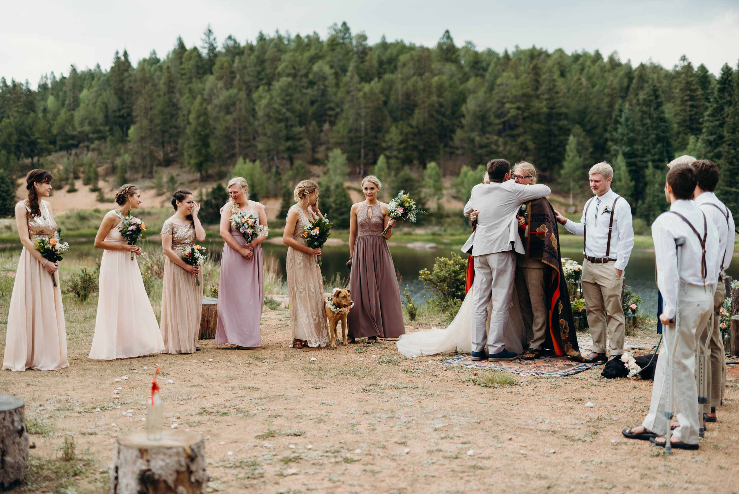 Ally & Jared's emotional ceremony / Rustic Colorado mountain / diy / summer camp wedding