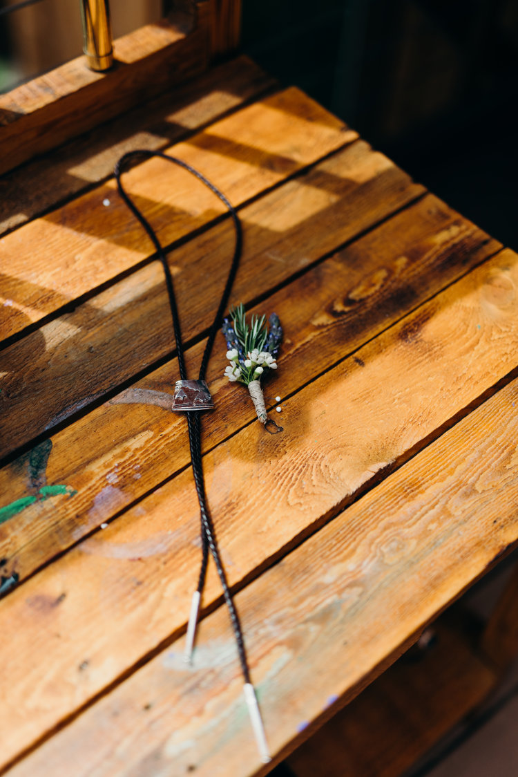 Lavender and bolo ties - Sarah & Ben's Steamboat Springs, Colorado Bicycle Wedding