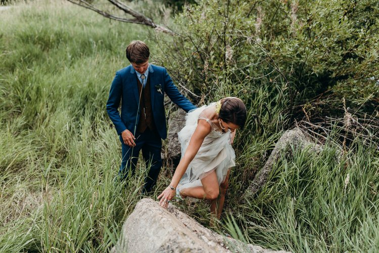 Bridal scramble during the first look - Sarah & Ben's Steamboat Springs, Colorado Bicycle Wedding