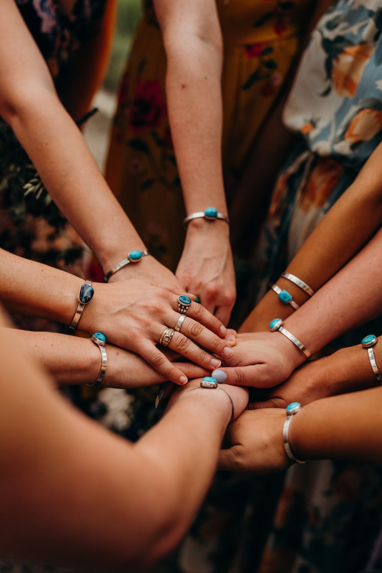 Amazing handmade turquoise wedding jewelry - Sarah & Ben's Steamboat Springs, Colorado Bicycle Wedding