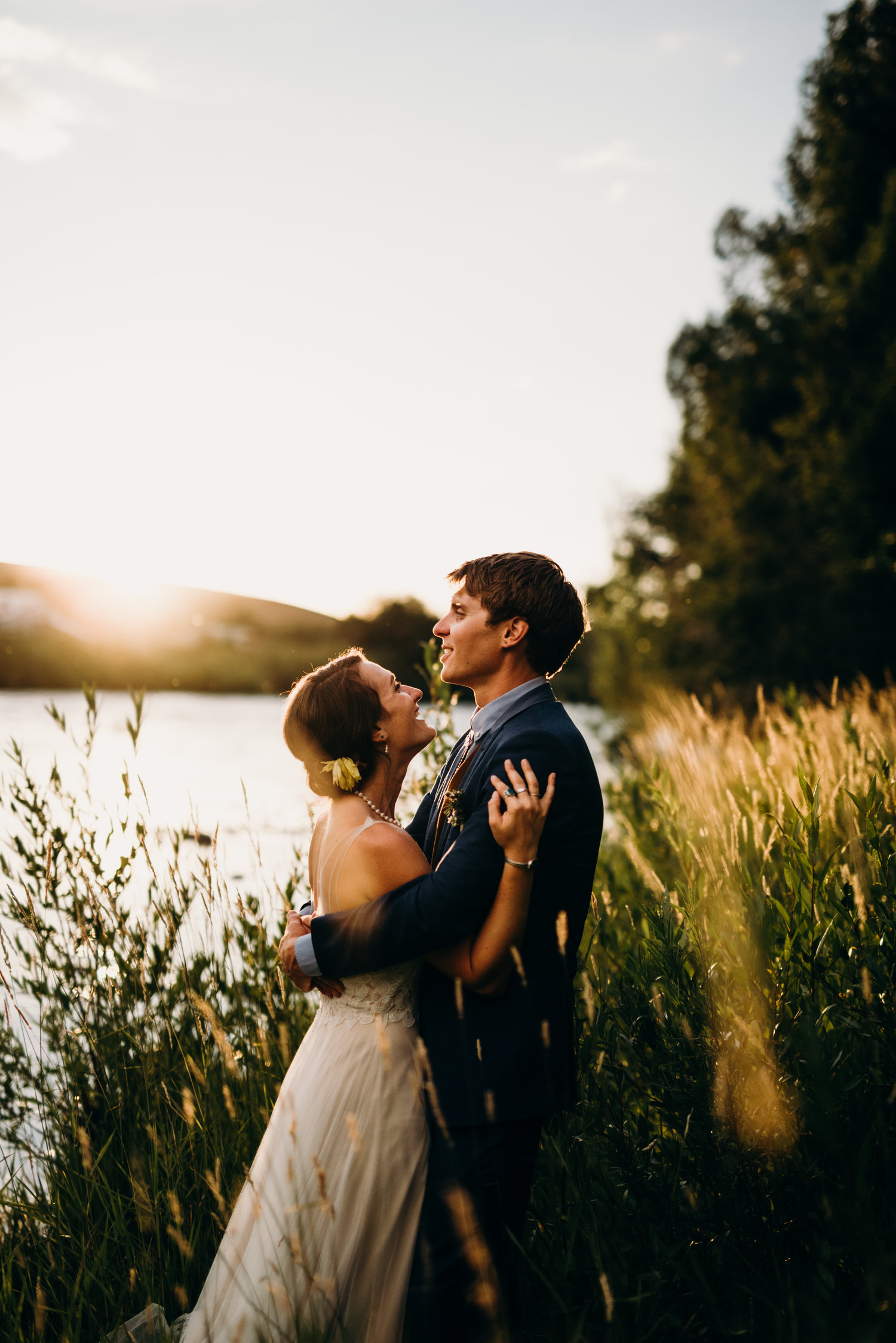 Golden hour riverside portraits - Sarah & Ben's Steamboat Springs, Colorado Bicycle Wedding