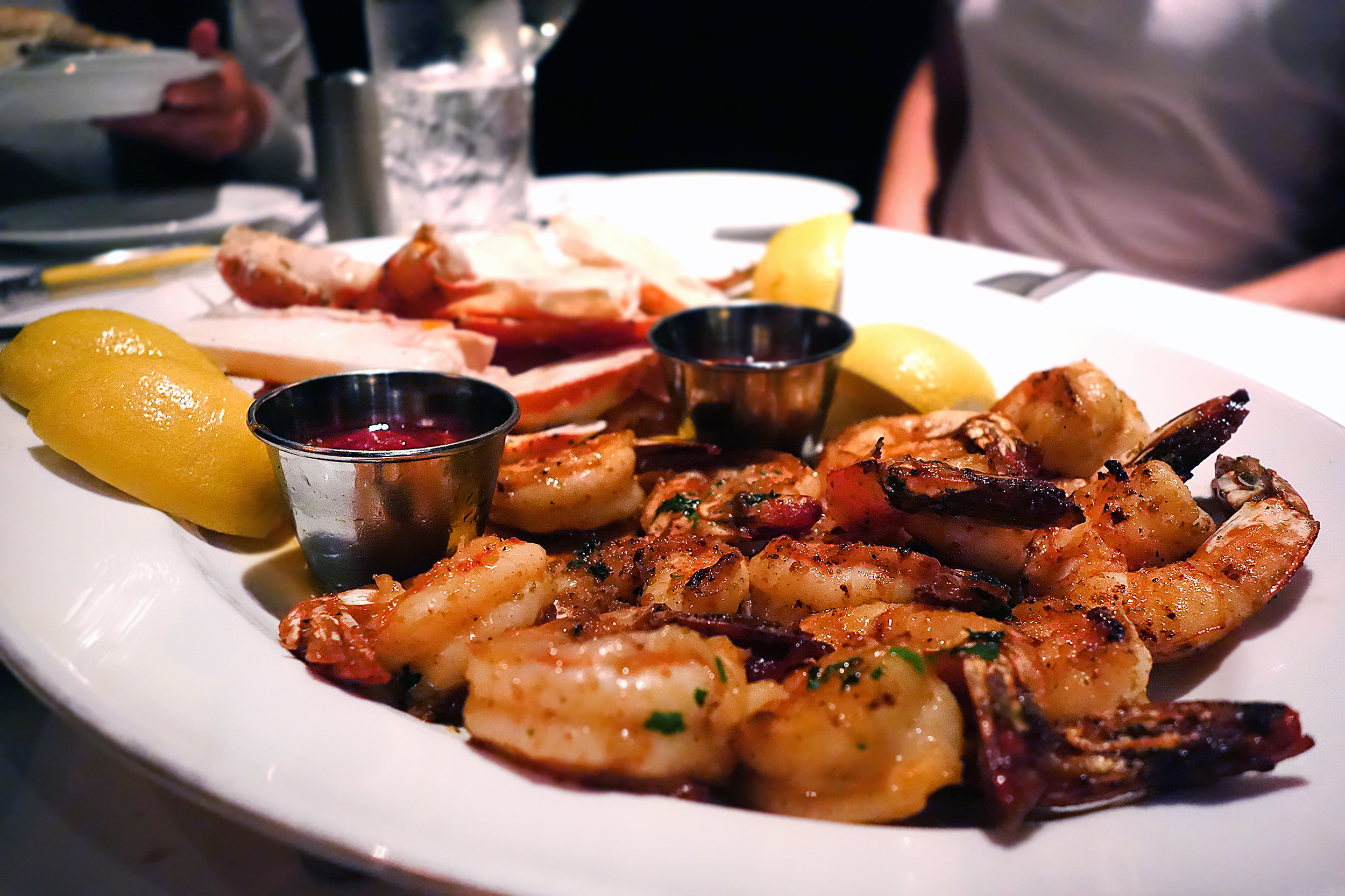 Shrimp and King Crab platter. (Alaskan Crab $18, Jumbo shrimp cocktail $14)