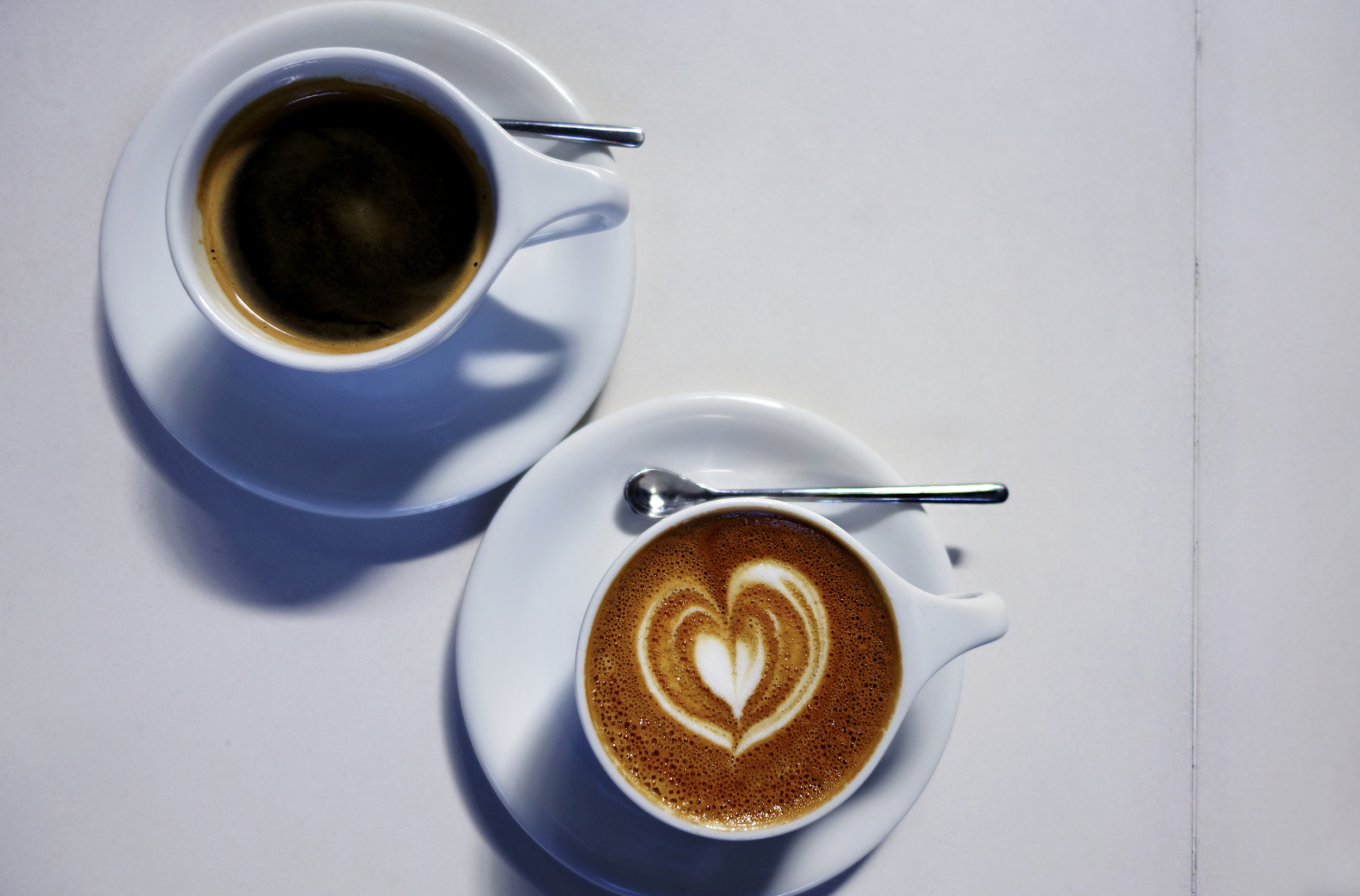 Americano on top, cappuccino bottom