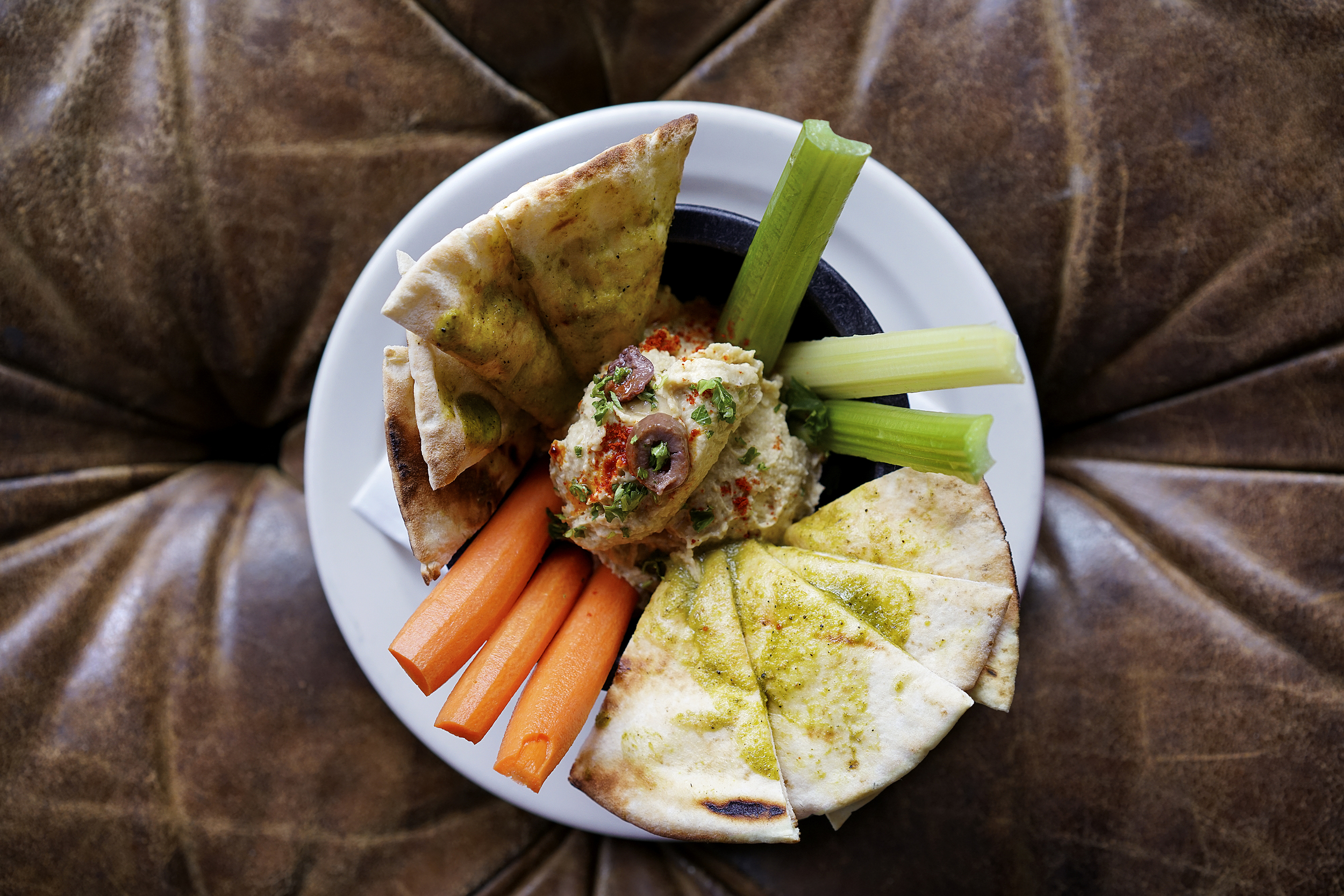 Authentic Hummus with Spicy Pita & Crudite