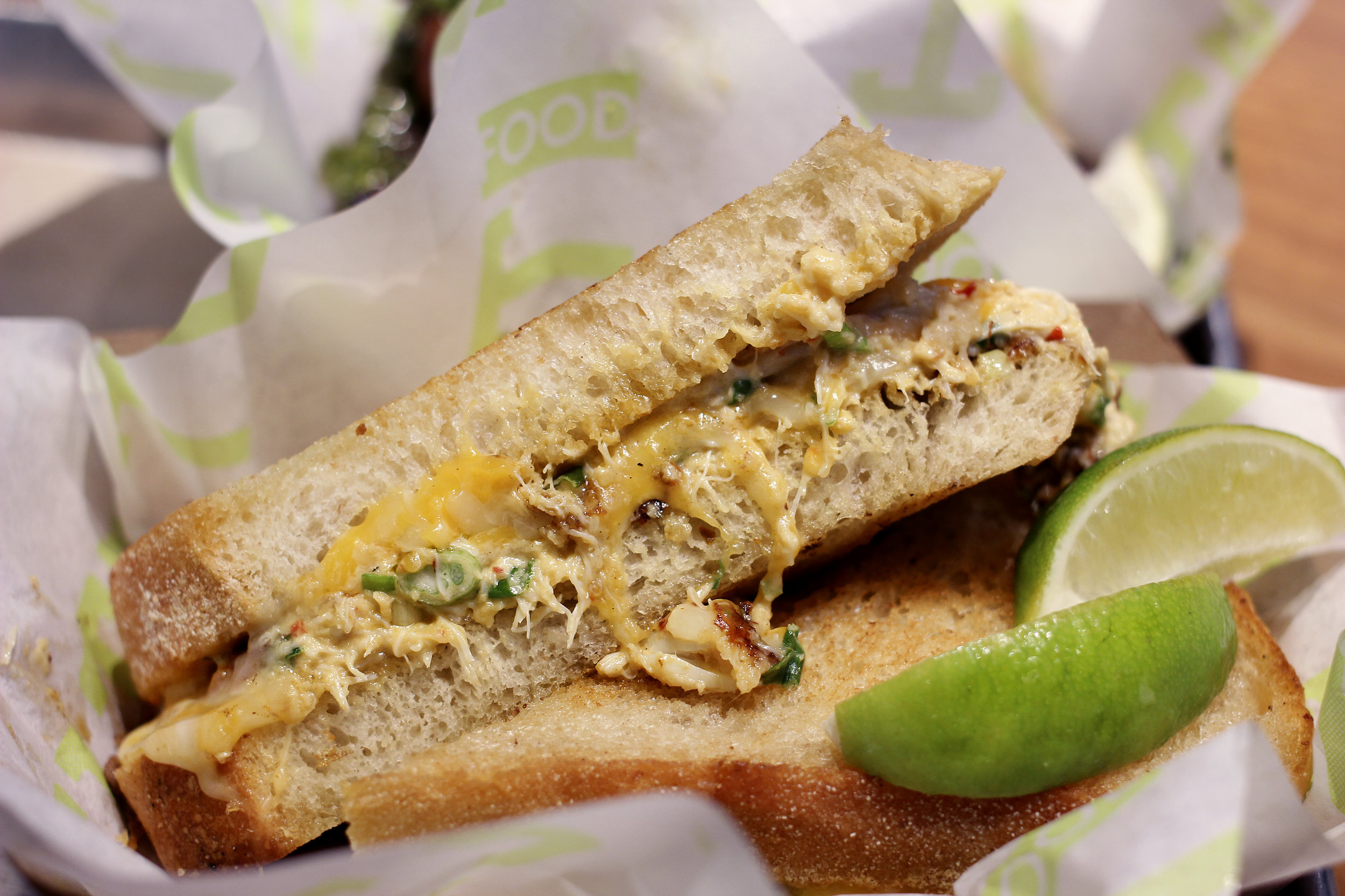 Blue Crab Grilled Cheese - Blue Crab, Cheese Blend, Scallions, Jalapeños, Sambal, Grilled Sourdough. No Substitutions (For $12, this was worth it.)