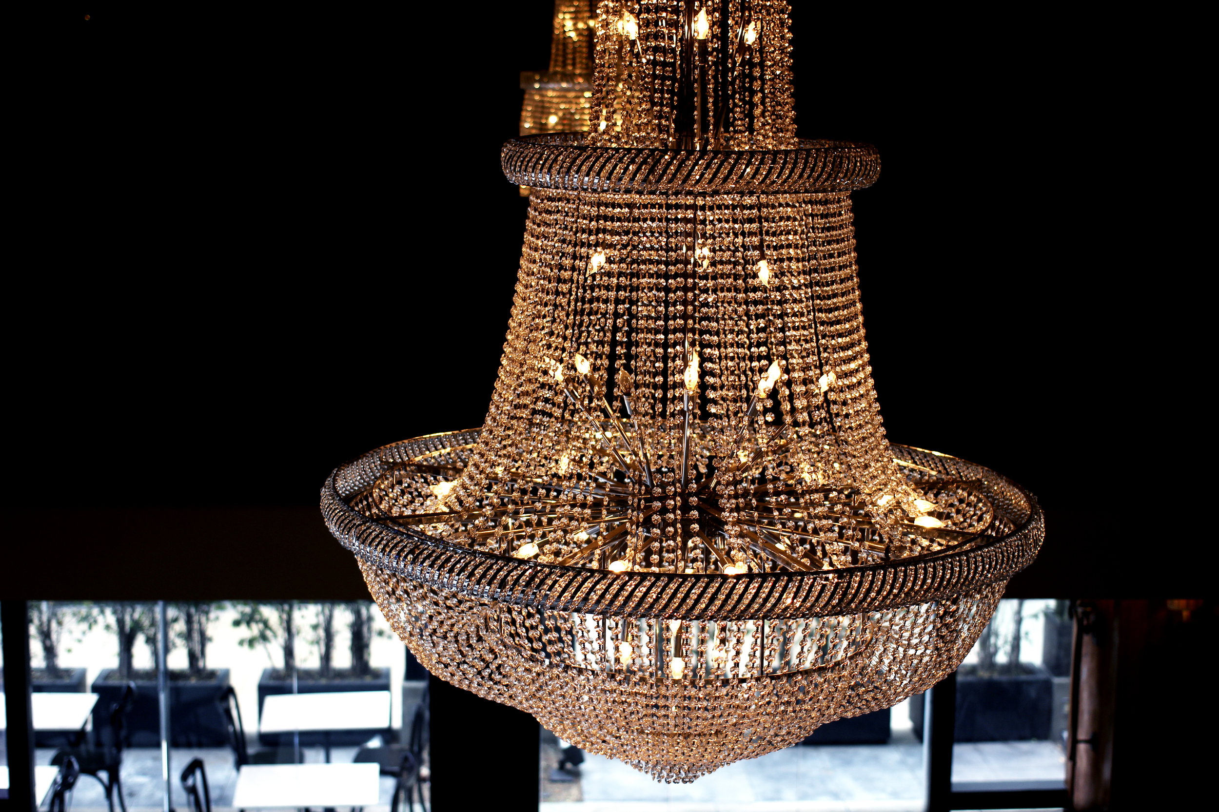 Chandelier from bar view.