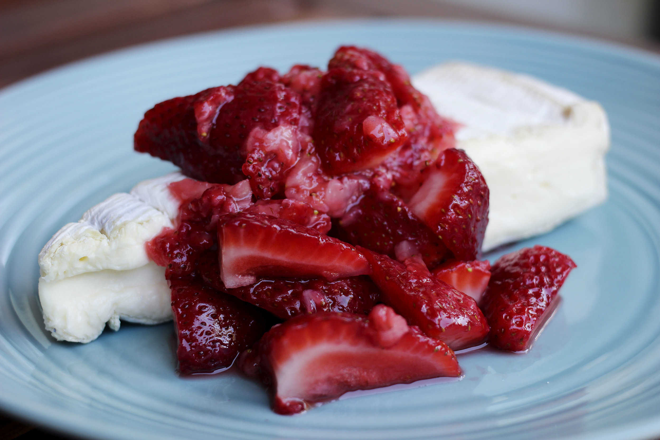 I macerated some strawberries to eat with the Brie . This was eaten with sunflower/flaxseed crackers. Drizzling some honey is also delightful.