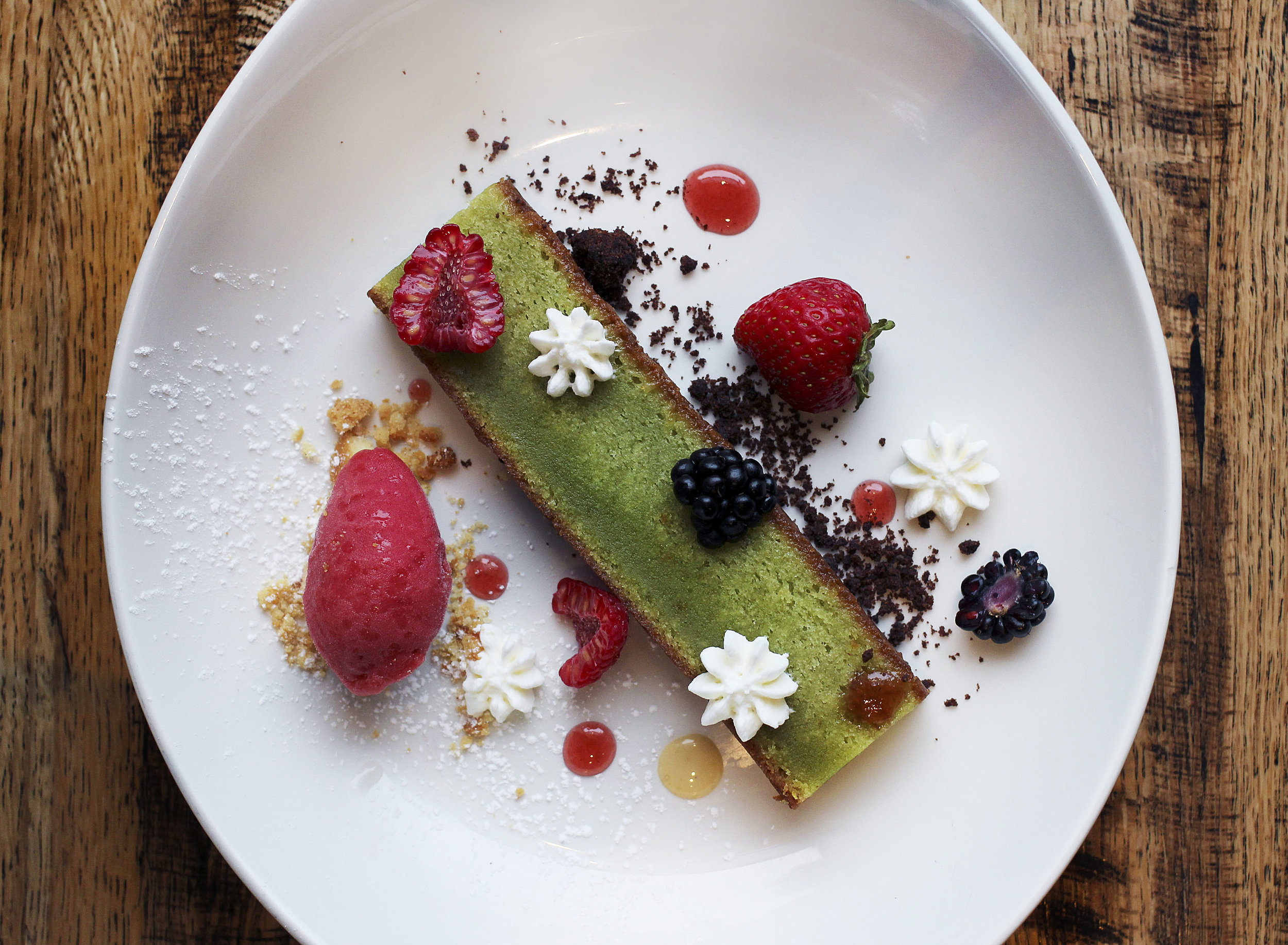 Basil Oil Cake | Creme Friache| Fruit | Strawberry Sorbet