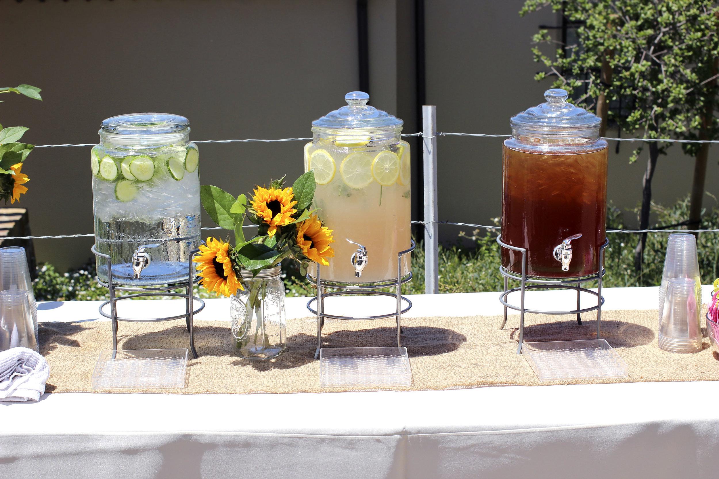 Cucumber water, Lavender Lemonade, Unsweetened Black Iced Tea