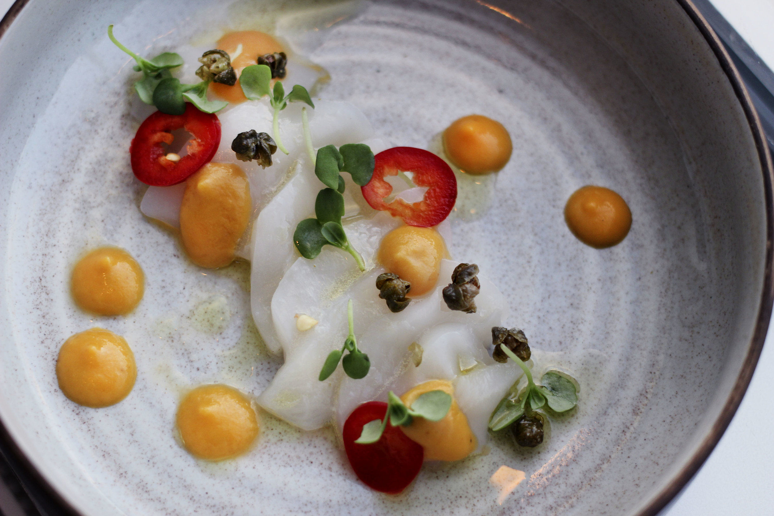 Crudo scallop, garlic oil, capers, tomato coulis fresno pepper