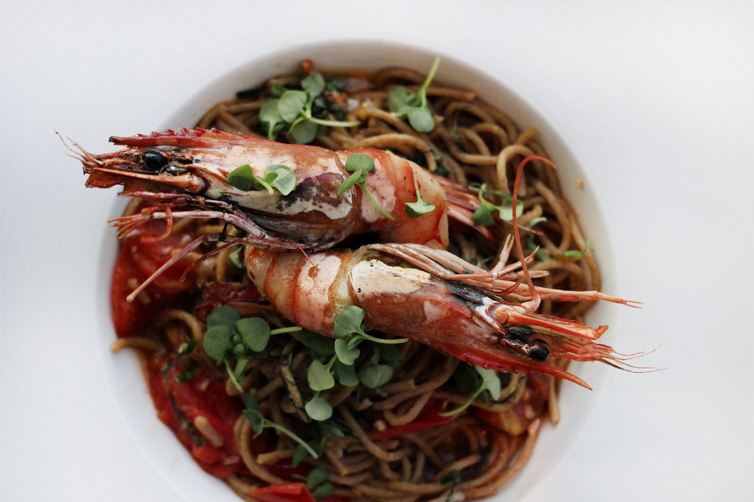 Prawns Pomodoro - locally milled wheat pasta, heirloom tomatoes garlic, basil