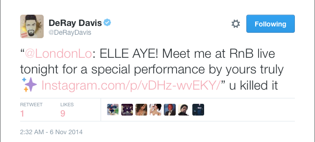 Comedian DeRay Davis gives London Lo kudos after her performance at RnB Live in LA.