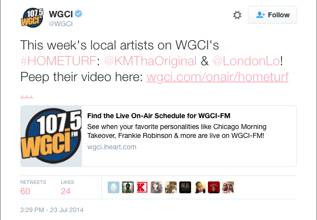 """London Lo & KM Tha Original's song """"Special One"""" made it on WGCI's #HomeTurf."""