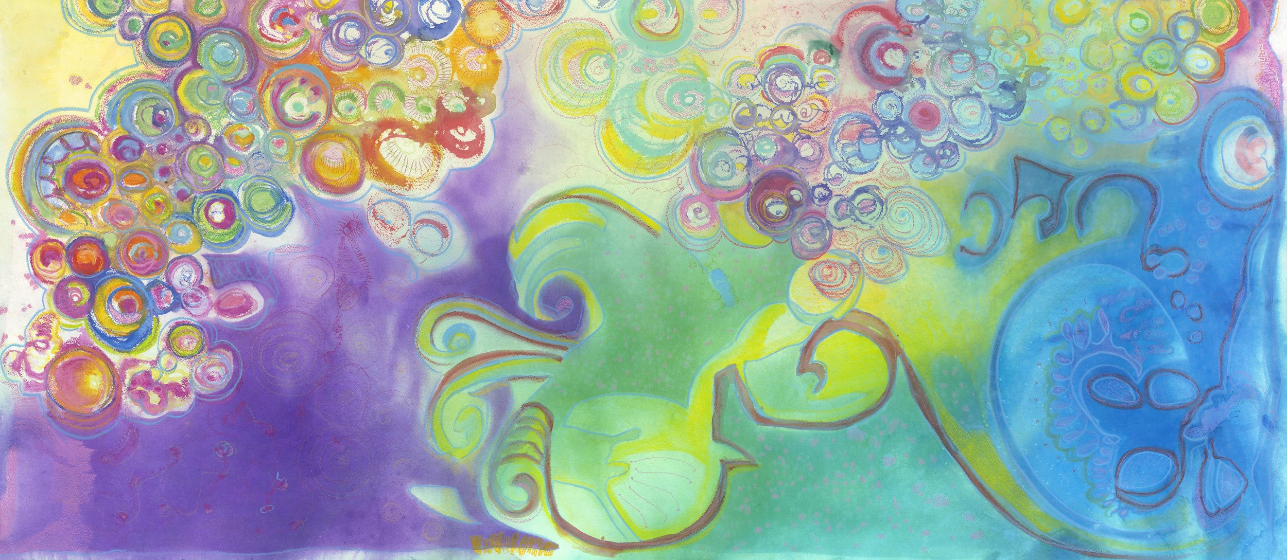 The Love Particle, 1: The Soul Series; By, Maureen Claffy 28 x 60 $4500 watercolor and watercolor crystal with colored pencil on Arches rough paper
