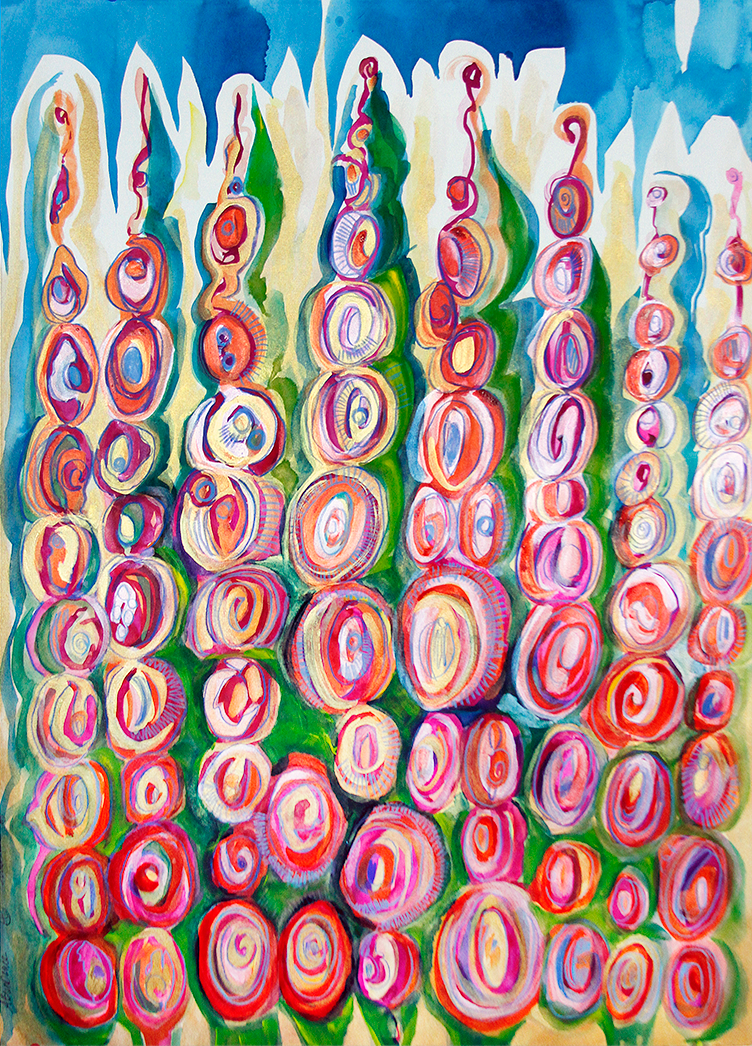 Abundance, The Soul Series; By, Maureen Claffy 28 x 40 / Watercolor, metallic medium and colored pencil on paper / $1600, In Private Collection