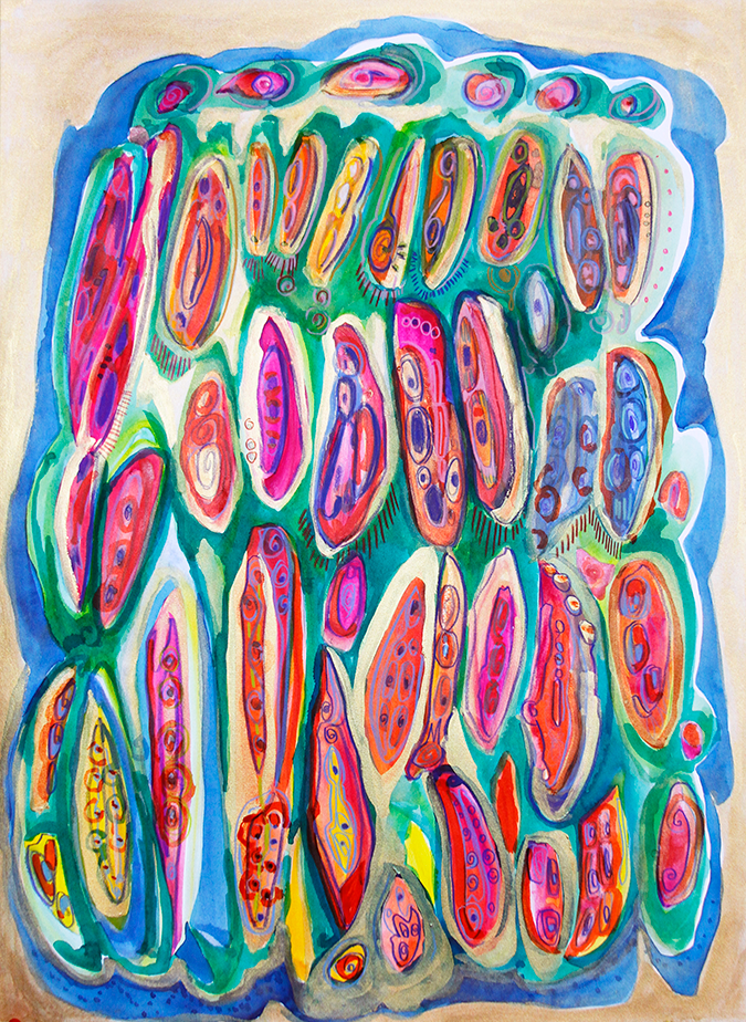 Seed Pods , The Seed Series (28 x 40 / Watercolor, metallic medium and colored pencil on paper / $800, In Private Collection)