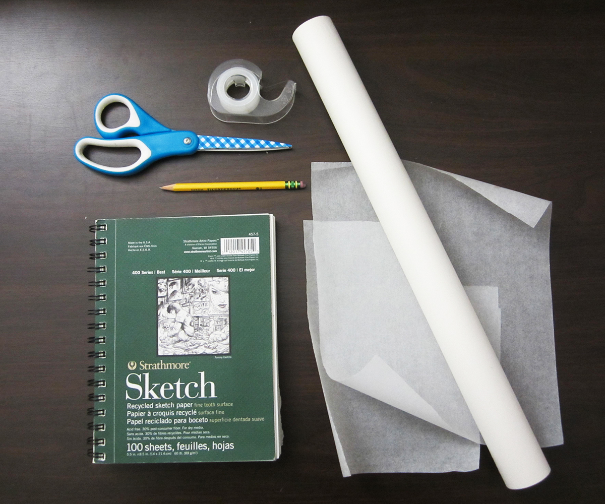 Materials - sketchbooktapescissorspenciltracing paper