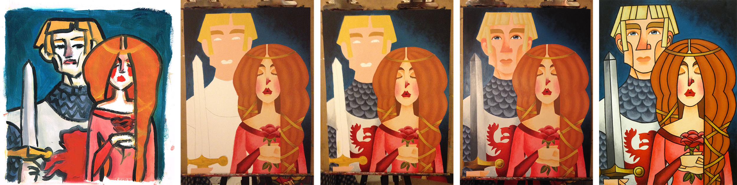 knight-damsel-painting-process