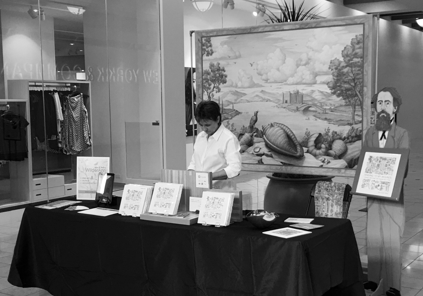 Author, Debra Walling setting up the display