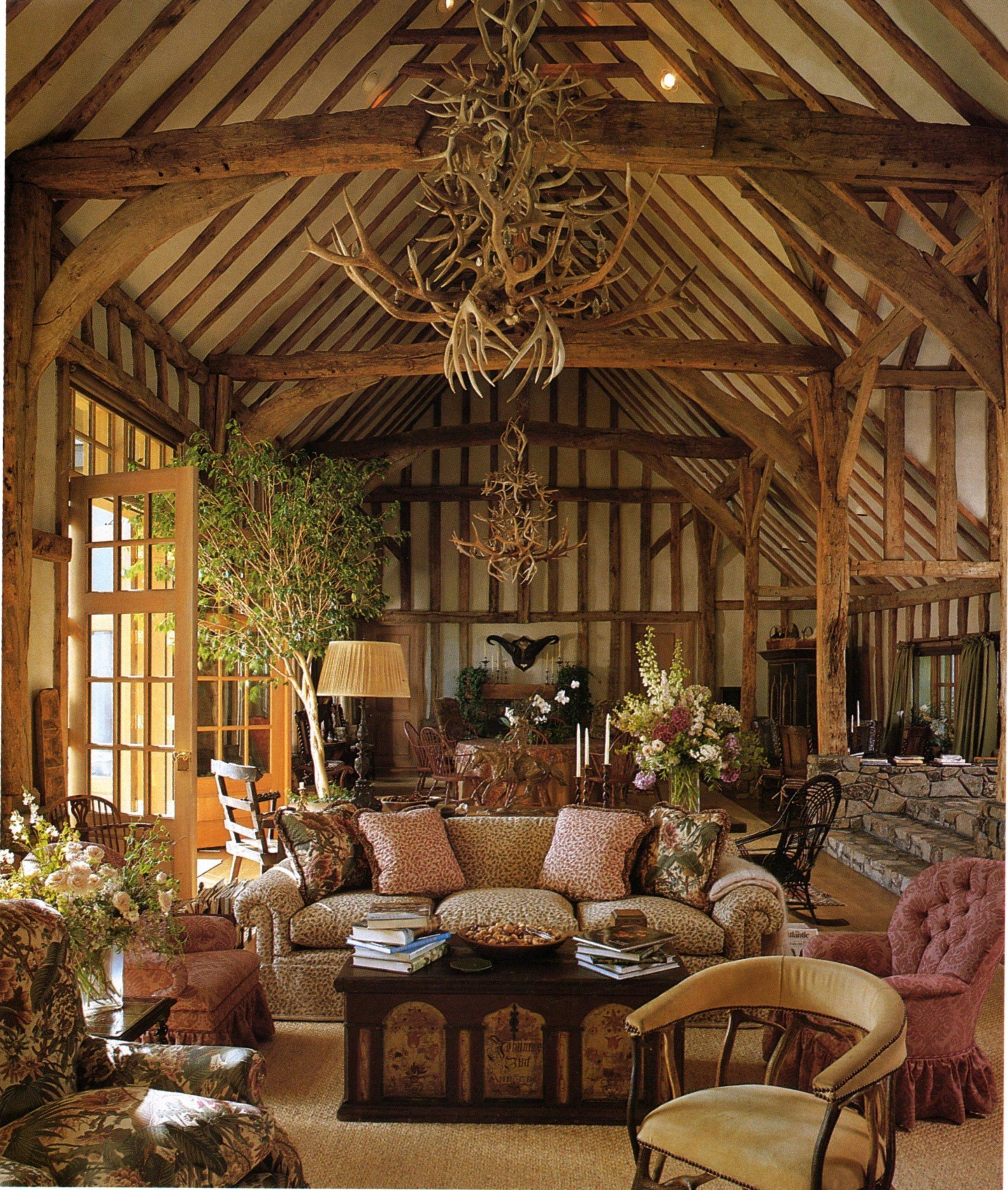 English Oakleaf Faded Green on Beige (sofa), English Oakleaf Red on Beige (pillows), Jungle (chair)