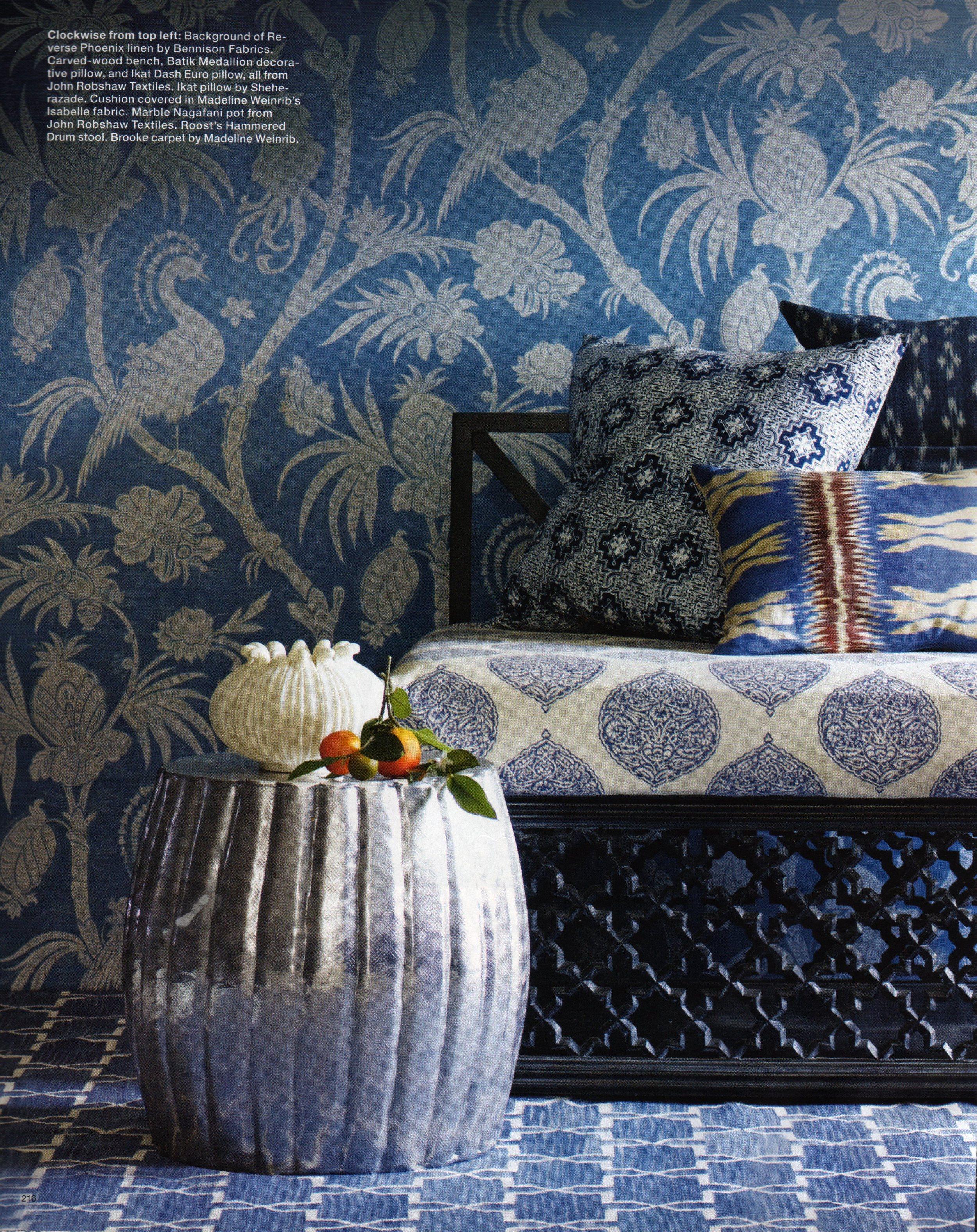 Reverse Phoenix - Mid Blue on Oyster (walls)