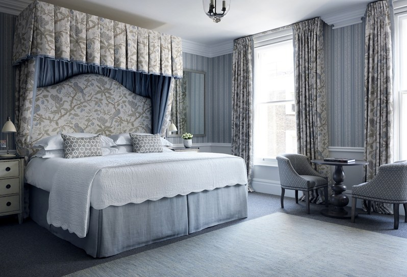 Cherry Tree - Blue (drapery & bed drapes), Tatting Stripe - Blue (walling)