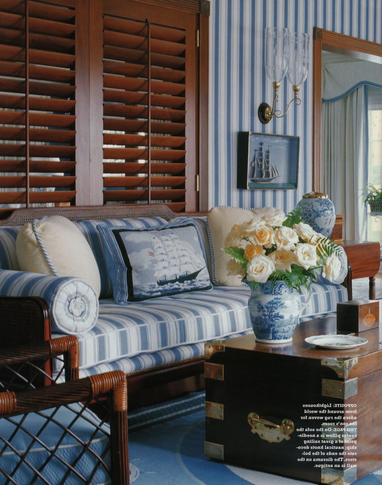 Pavilion Stripe - Mid Blue on Oyster