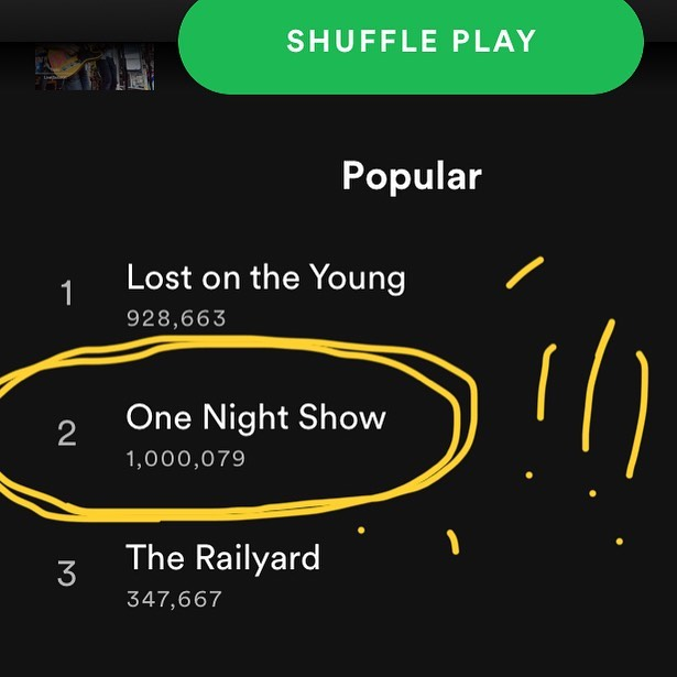'One Night Show' hit  1 million @spotify spins and we're just about filled up to bursting with love for everyone who took a chance with us on those 3 and a half minutes to feel something. ❤️🙏❤️ We can and do rail all we want about the hellscape of modern media culture, the apparently disposable, devalued music we pour out into the universe, but here is a reminder of just how fortunate we are to have you out there listening. Thank you all so much for supporting us, for singing with us, and for keeping this all trucking along. There's lots more where that came from! 😘