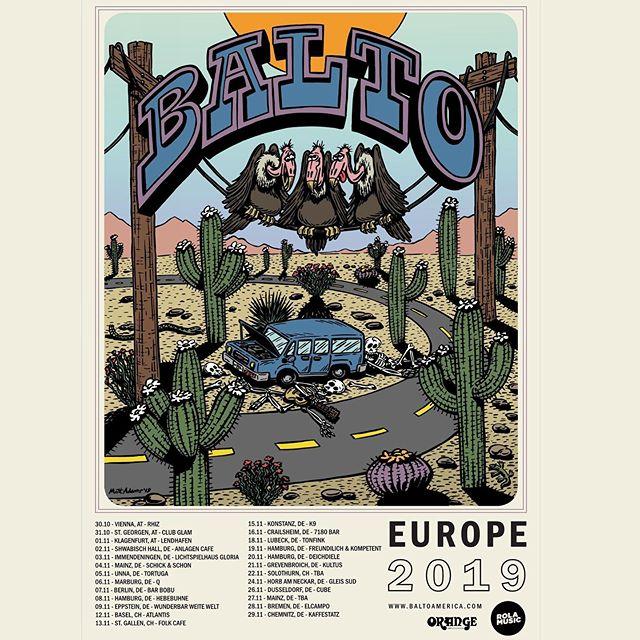 We're going back to Europe! Couldn't be more excited to announce that we're rolling through Germany, Austria, & Switzerland in November! Monster thanks to the @rola_music crew for putting this together and to @mattjadamsart / @theblanktapes for drawing up this poster cartoon. Tag your friends in the cities below! Keep your eye out for some additional dates! . . 30.10. – Wien, AT @rhizvienna  31.10. - St. Georgen, AT @ Club Glam 01.11. – Klagenfurt, AT @lendhafencafe  02.11. – Schwäbisch Hall, DE @anlagencafe  03.11. – Immendingen, DE @lichtspielhaus_gloria  04.11. – Mainz, DE @ Schick & Schön 05.11. – Unna, DE @tortugaunna 06.11. – Marburg, DE @qmarburg1  07.11. – Berlin, DE @barbobu  08.11. – Hamburg, DE @die_hebebuehne  09.11. – Eppstein, DE @wunderbarweitewelt 12.11. – Basel, CH @atlantis_basel  13.11. – St. Gallen, CH folk cafe  15.11. – Konstanz, DE @kulturzentrumk9  16.11. – Crailsheim, DE @7180bar  18.11. – Lübeck, DE - TONFINK 19.11. – Hamburg, DE - @freundlichundkompetent  20.11. – Hamburg, DE - Deichdiele 21.11. – Grevenbroich, DE @Cafekultus 22.11. - Solothurn, CH TBA 24.11. – Horb am Neckar, DE @gleissuedhorb  26.11. – Düsseldorf, DE @cubeduesseldorf  27.11. - Mainz, DE TBA 28.11 – Bremen, DE @ el camp 29.11. – Chemnitz, DE - Kaffeesatz . . #europetour #posterart #cartoon #tour #rocknroll #werewolves