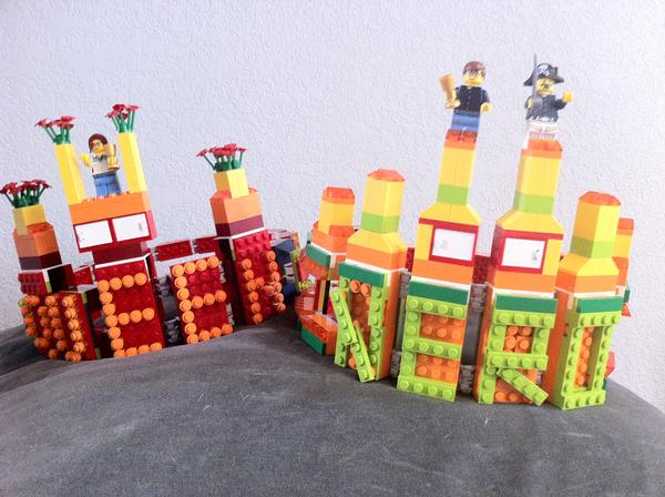 These custom-made Lego crowns adorned the heads of the 2012 Nerd Prom King and Queen. This year's royalty will get headwear crafted by a Lego Master Builder.  (  Provided by Andy Guerrero  )