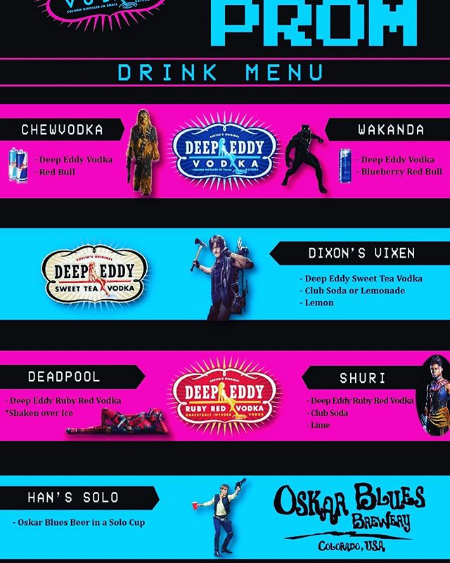 Check out our awesome Nerdy drink menu, brought to you by @deepeddyvodka @redbull and @oskarblues!  Big thanks to our sponsors for providing drinks for our VIP ticket holders!#nerdsjustwannahavefun #nerdprom2018 #mixwithmusic