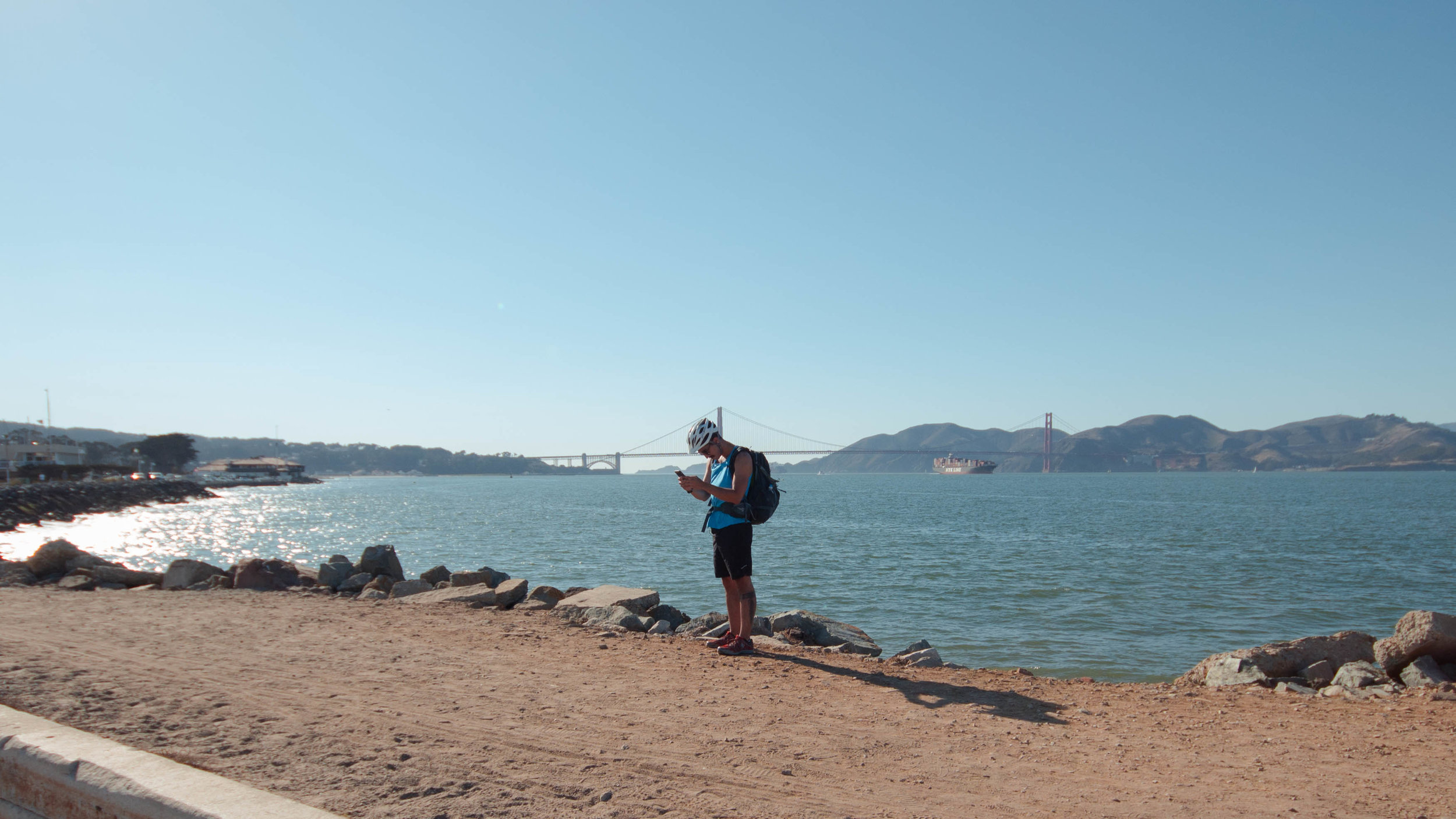 A shot of Juan Flores documenting our bike ride with REI through the Presidio of San Francisco  .