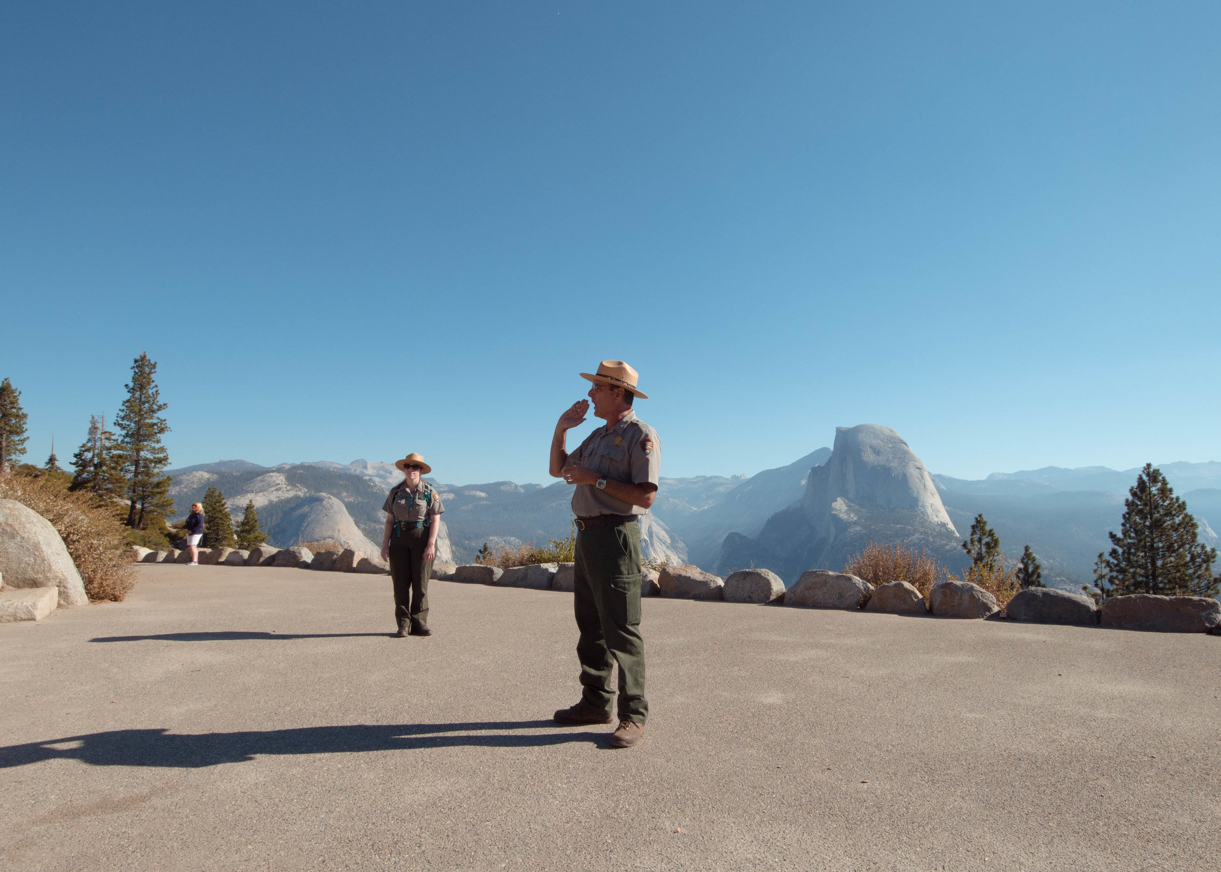 Yosemite National Park Rangers introducing us to the park with Half Dome right behind.