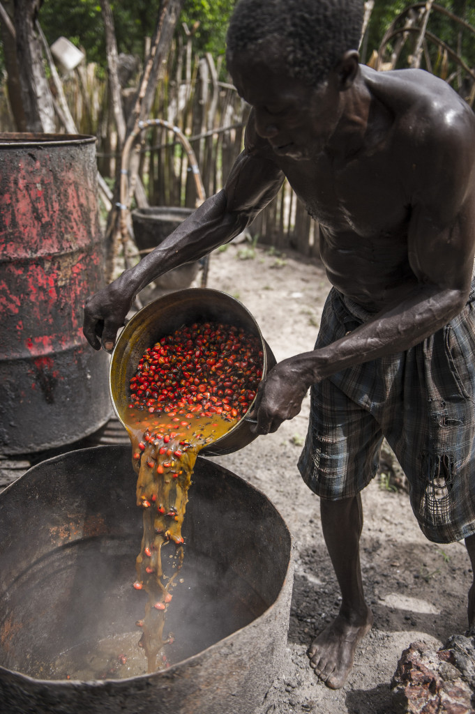 The traditional way of producing Palm Oil in Diola, a small village, in South Senegal. Credit: Evan Sung