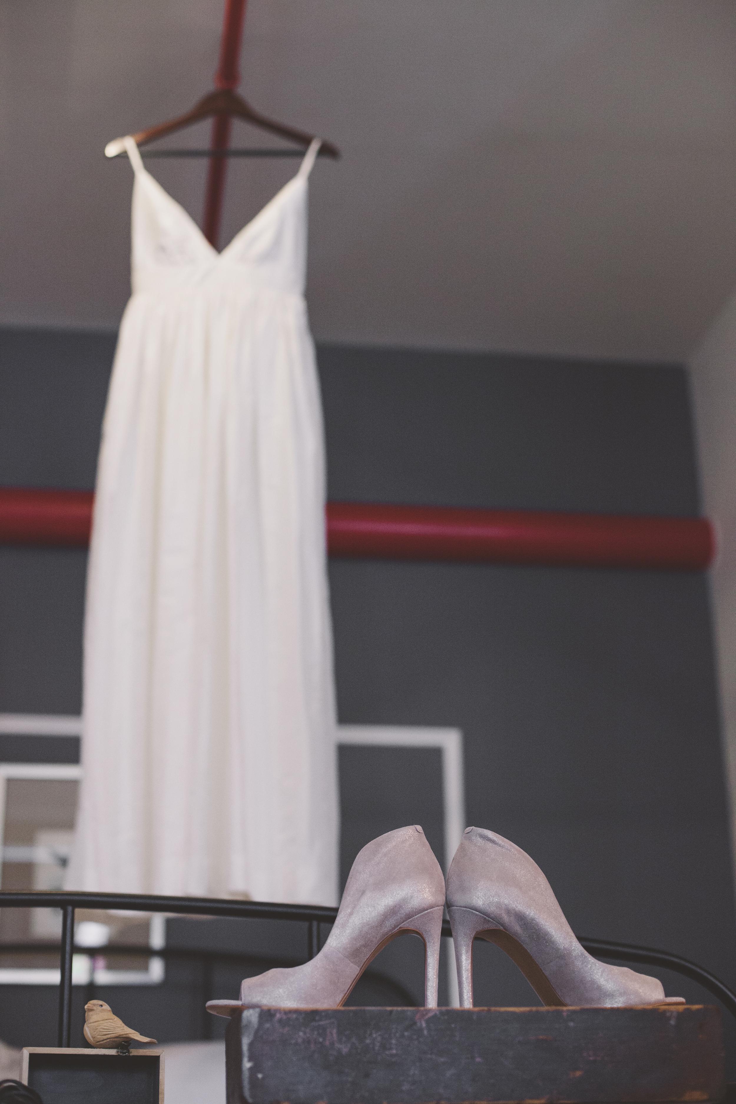 dress and shoe shot wedding