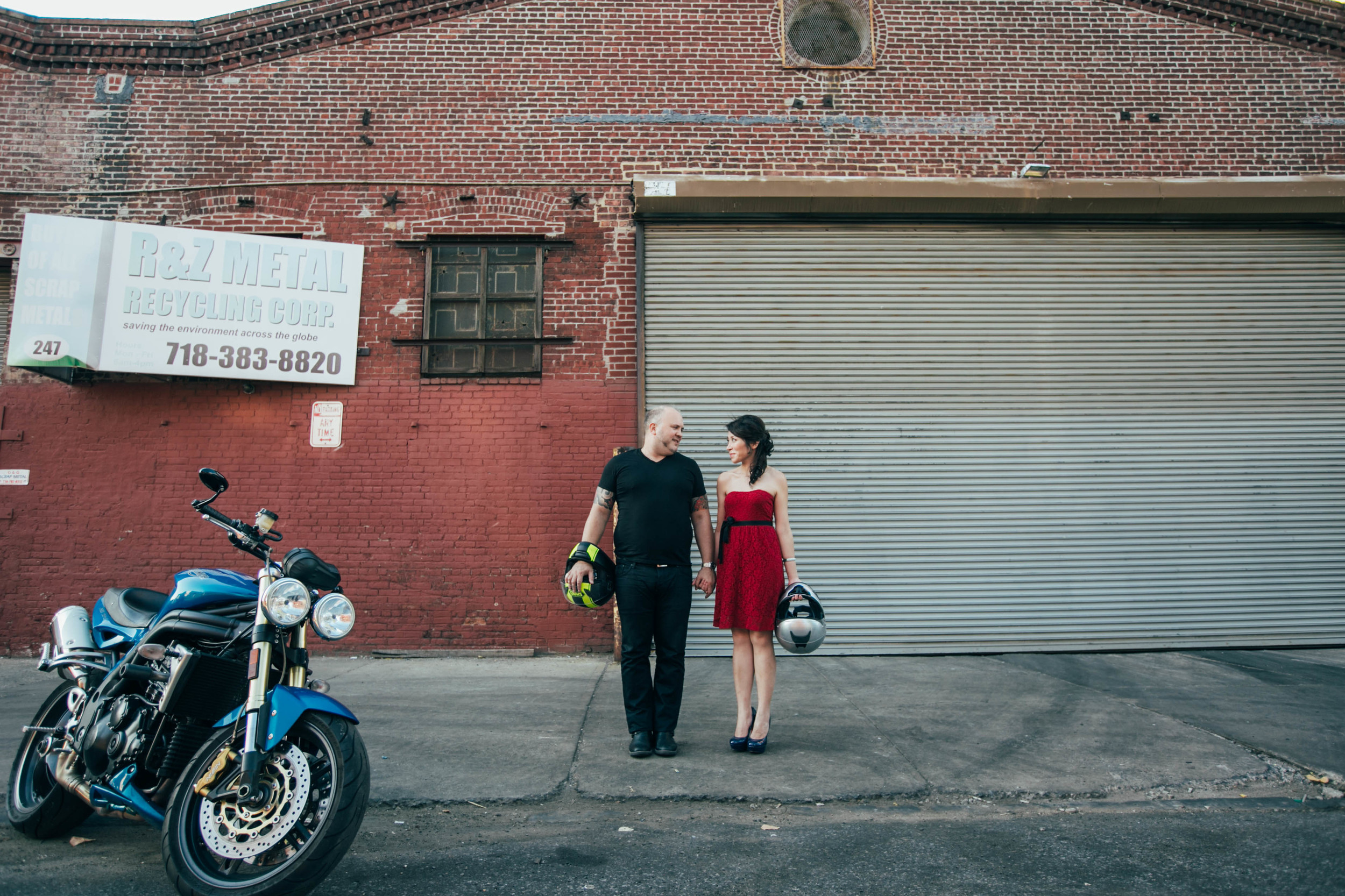 motorcycle urban nyc engagement photos