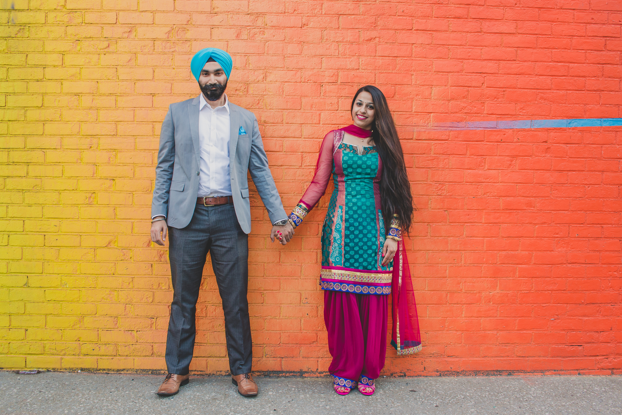 Colorful indian style engagement in NYC