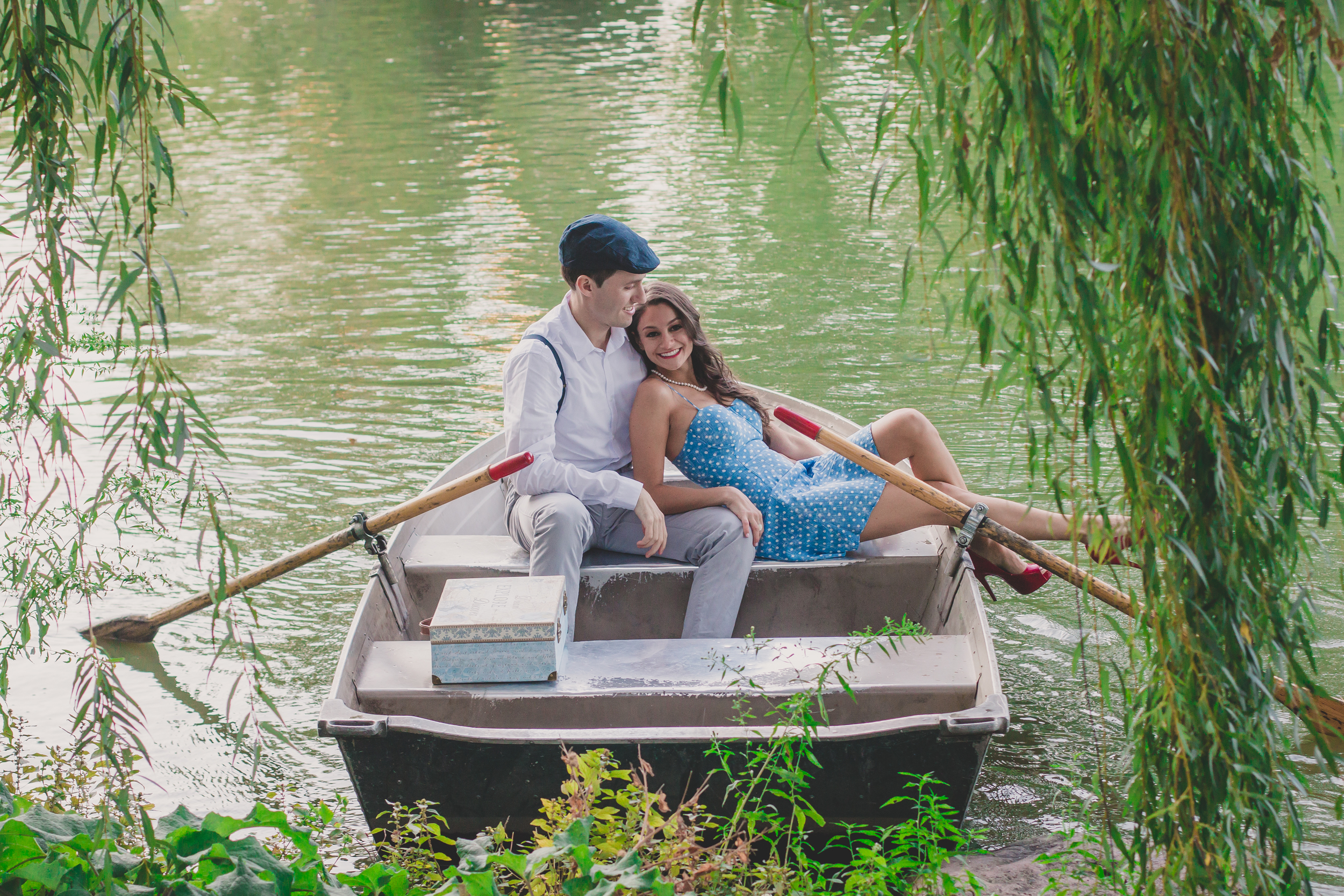 central park boathouse engagement photos