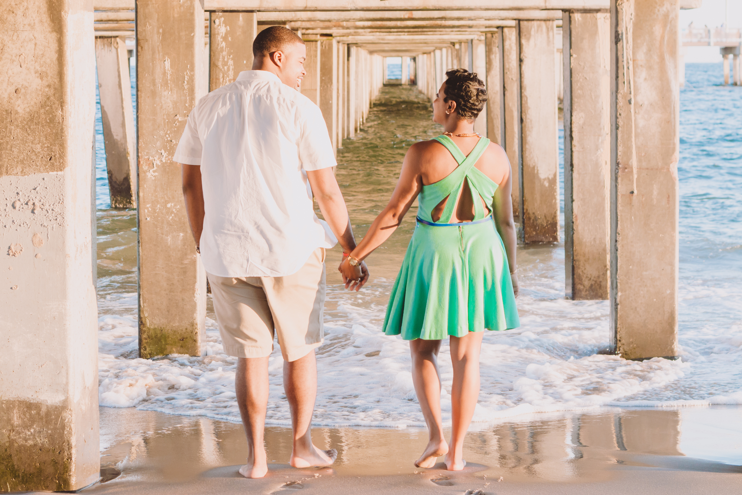 afternoon sun by the beach engaged photos