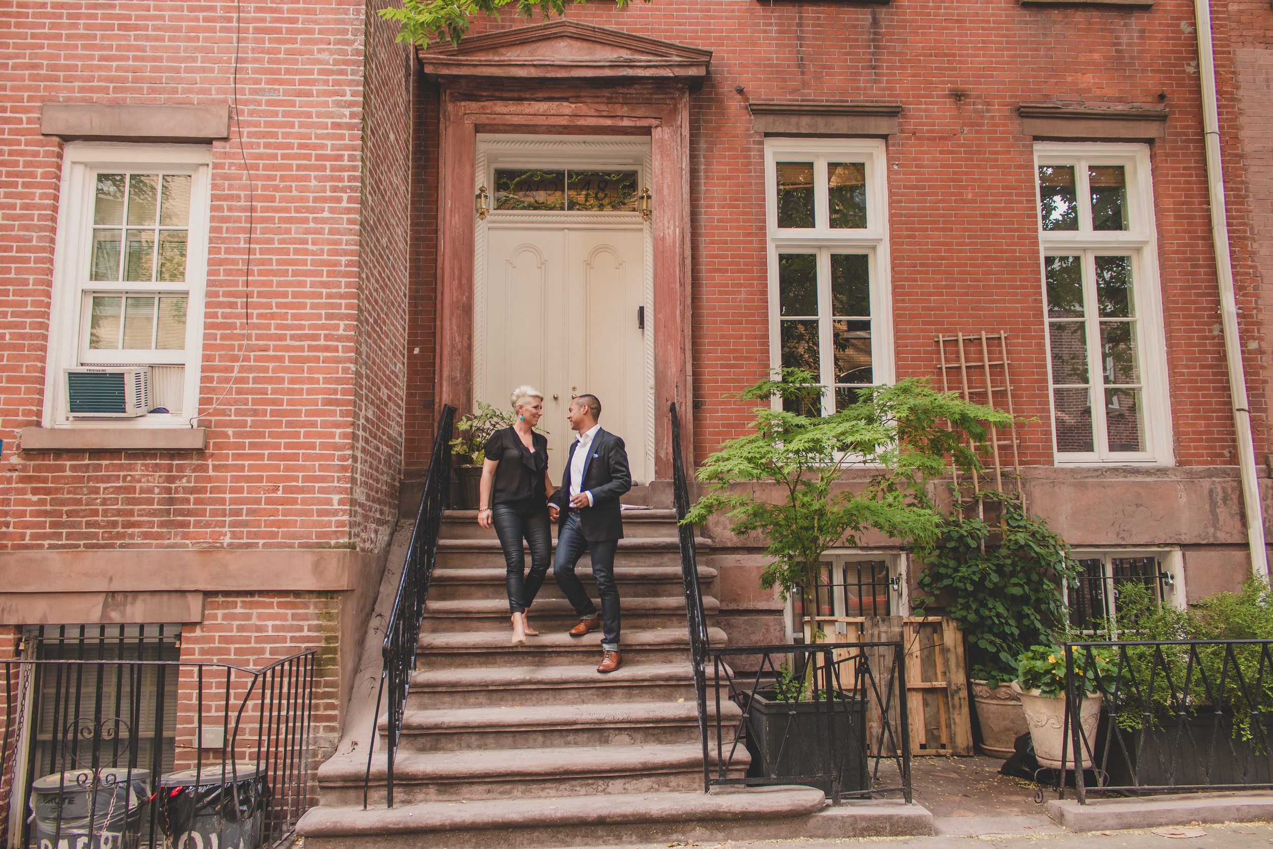 brownstone building nyc engagement session