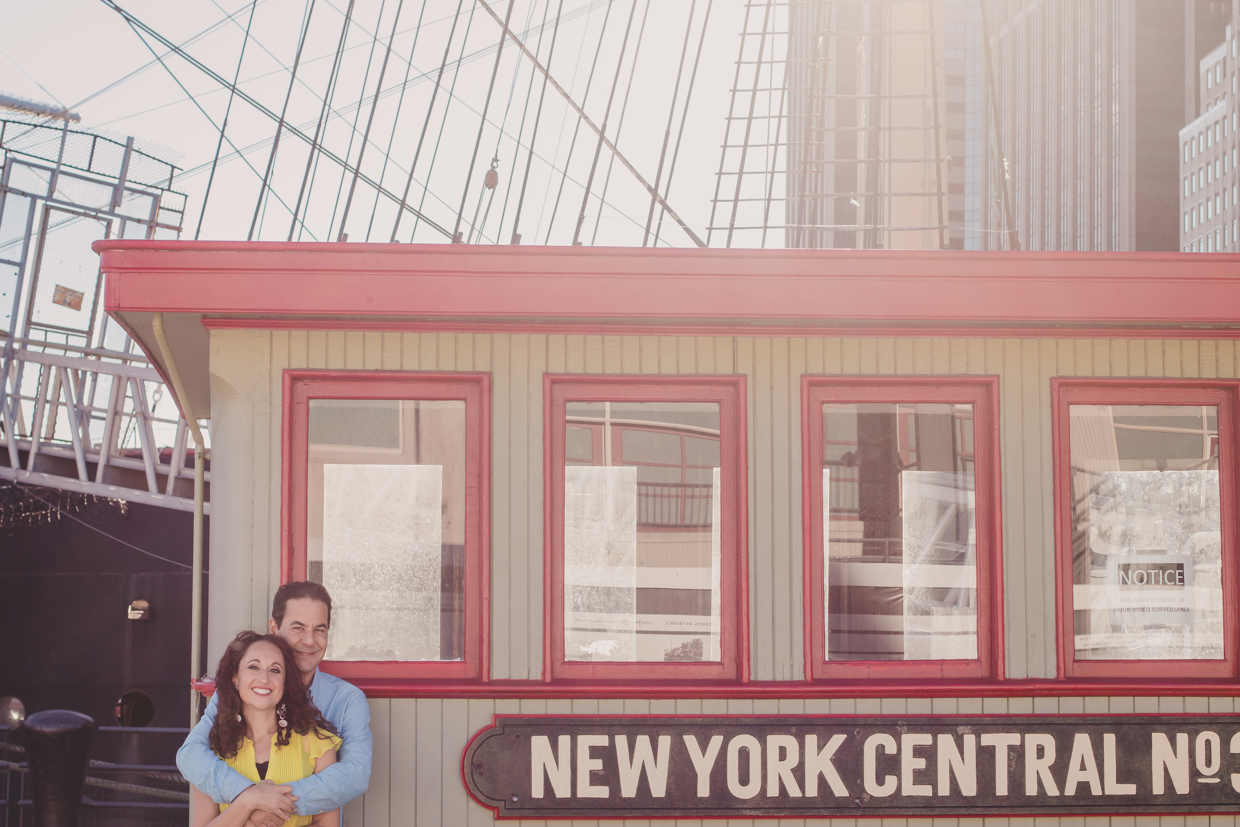NY old school train engagement photos