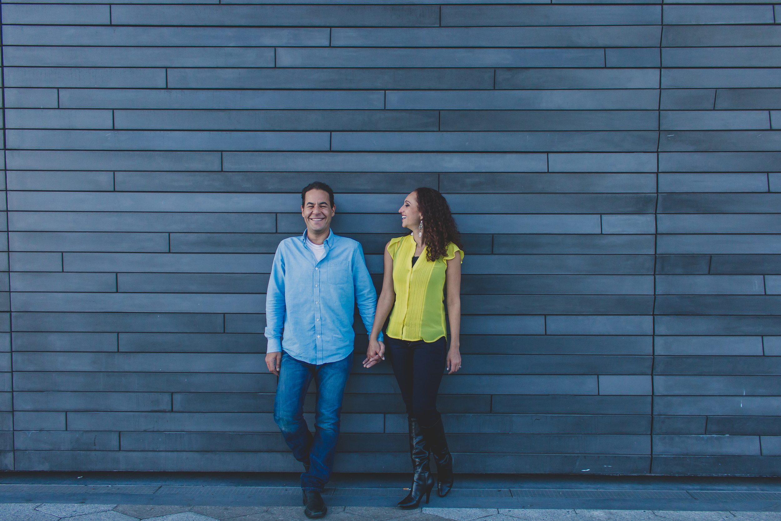 artsy hipster wall at south street seaport engagement photos